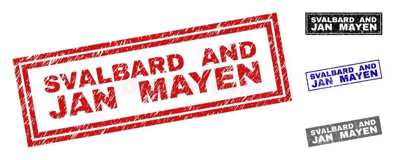 O Grunge SVÅLBARD E A ILHA DE JAN MAYEN riscou selos do retângulo ilustração stock