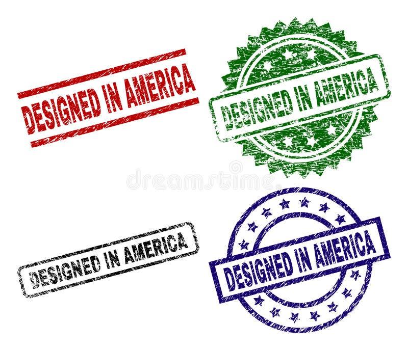 O Grunge Textured PROJETADO em selos do selo de AMÉRICA ilustração stock