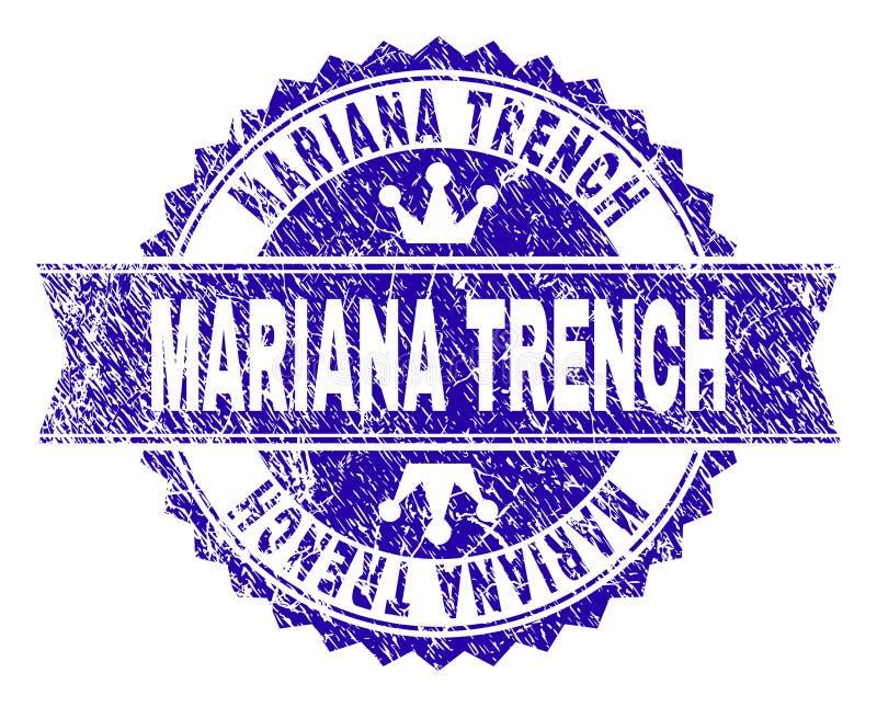 O Grunge Textured o selo do selo da TRINCHEIRA de MARIANA com fita ilustração do vetor