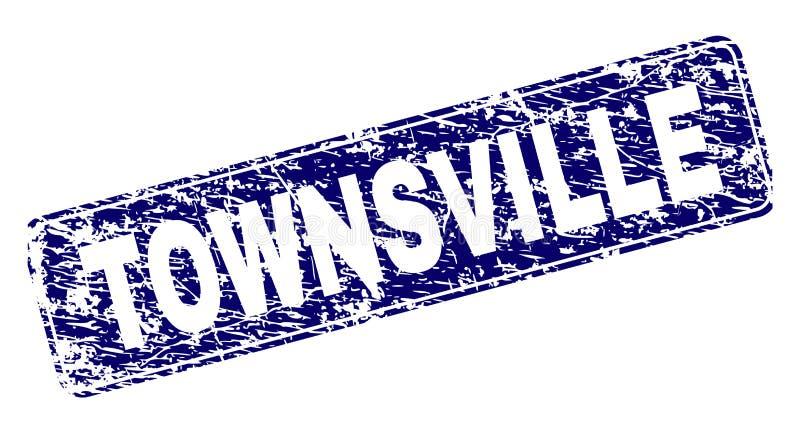 O Grunge TOWNSVILLE moldou o selo arredondado do retângulo ilustração stock
