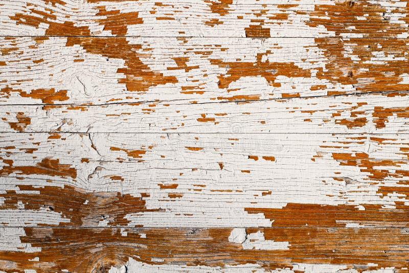 O grunge velho e o branco resistido pintaram o fundo de madeira da textura da prancha da parede imagem de stock