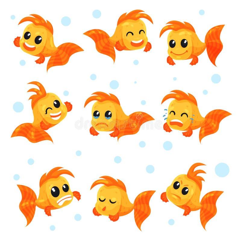 O grupo bonito do peixe dourado, personagens de banda desenhada engraçados dos peixes com emoções diferentes vector ilustrações e ilustração do vetor