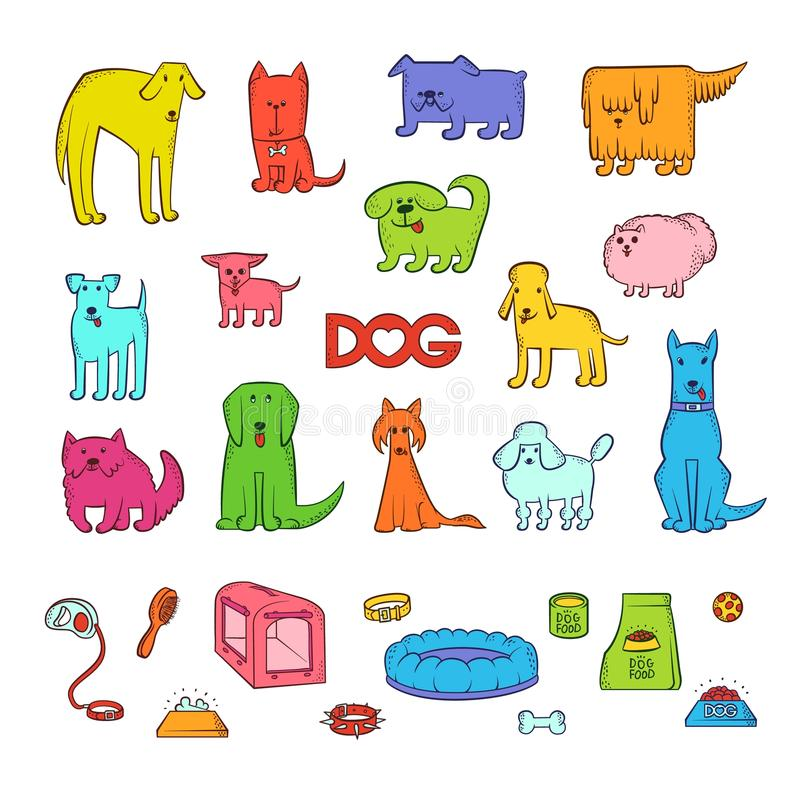 O grupo brilhante do vetor de cães diferentes dos desenhos animados produz Artigos para importar-se com o animal de estimação e a ilustração stock