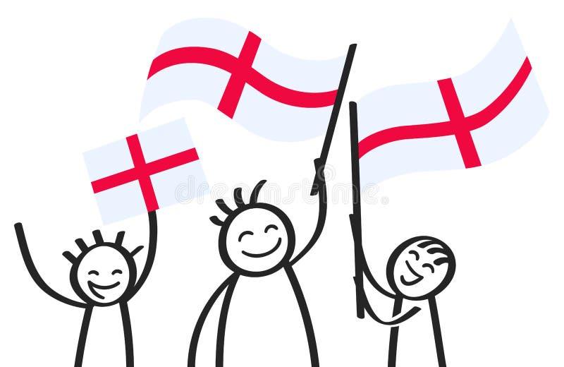 O grupo Cheering de vara feliz figura com as bandeiras nacionais inglesas, suportes de sorriso de Inglaterra, fãs de esportes ilustração stock