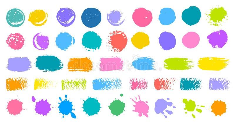 O grupo colorido abstrato dos cursos da escova espirra a mancha da pintura do ponto da gota da cor da coleção ilustração do vetor