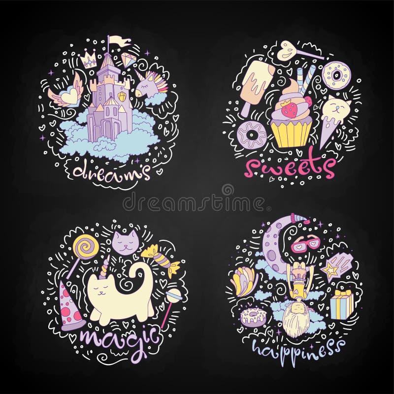 O grupo colorido de ícones do adolescente, objetos adolescentes dos desenhos animados bonitos, etiquetas do divertimento projeta  ilustração royalty free