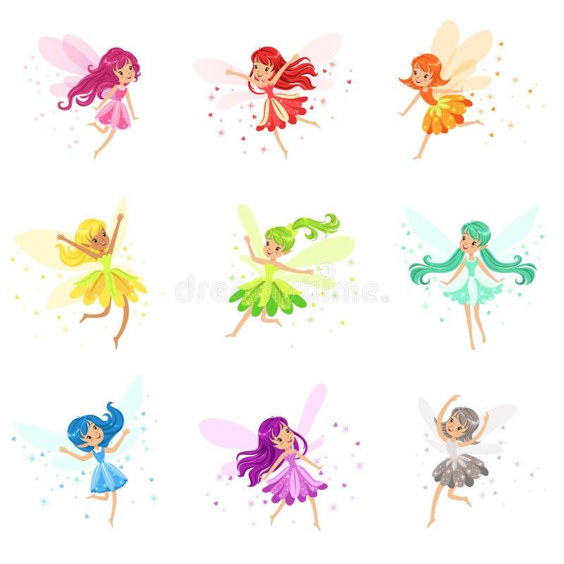 O grupo colorido do arco-íris de fadas femininos bonitos com ventos e dança longa do cabelo cercadas por faíscas e protagoniza em ilustração do vetor