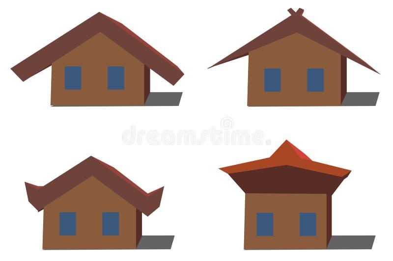 O grupo consiste em quatro casas Têm projetos diferentes do telhado ilustração do vetor