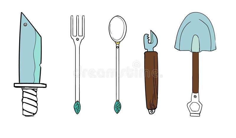 O grupo consiste em um grupo de jantar ferramentas e outros artigos úteis ilustração royalty free