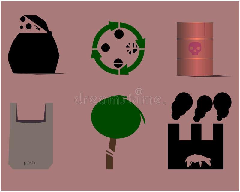 O grupo consiste em um tambor com um crânio, uma madeira cortada e um pacote com a palavra 'plástica ' ilustração stock