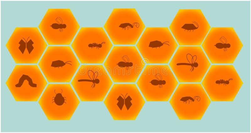 O grupo consiste nos favos de mel e nas figuras do inseto dentro de cada pilha ilustração stock