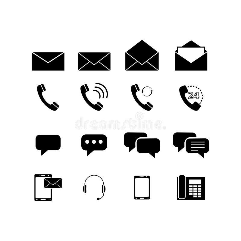 O grupo contacta ícones dos envelopes ilustração do vetor