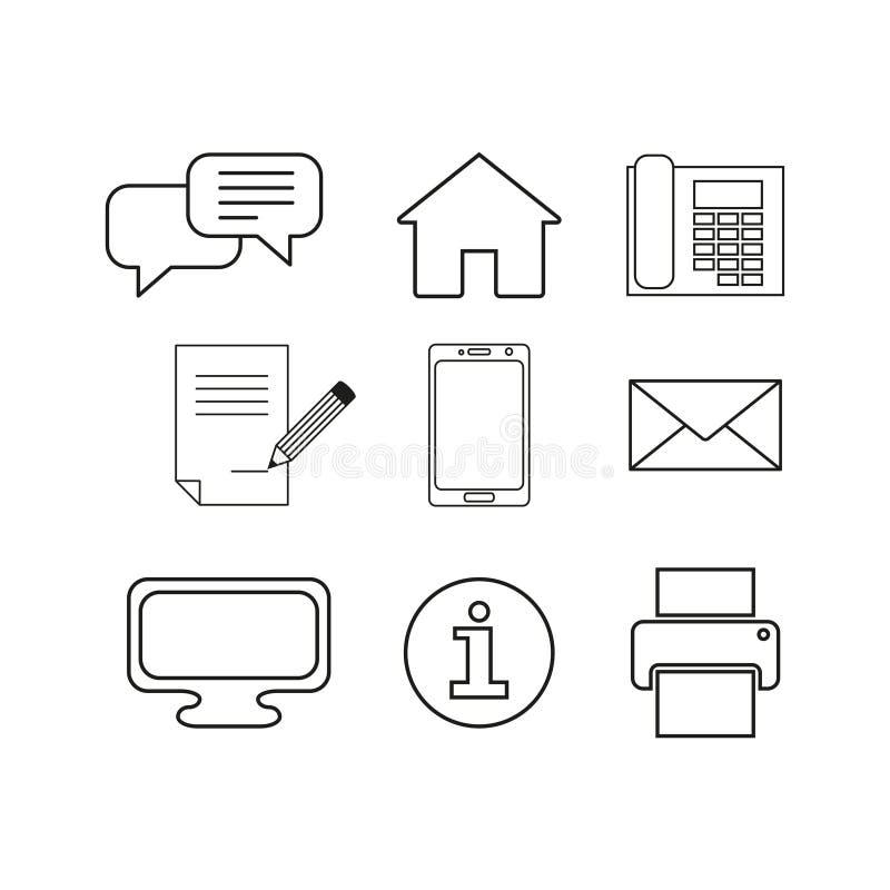 O grupo contacta ícones em linha da mensagem ilustração do vetor