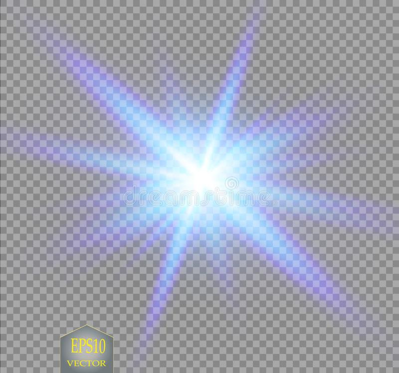 O grupo criativo do vetor do conceito de estrelas do efeito da luz do fulgor estoura com os sparkles isolados ilustração do vetor