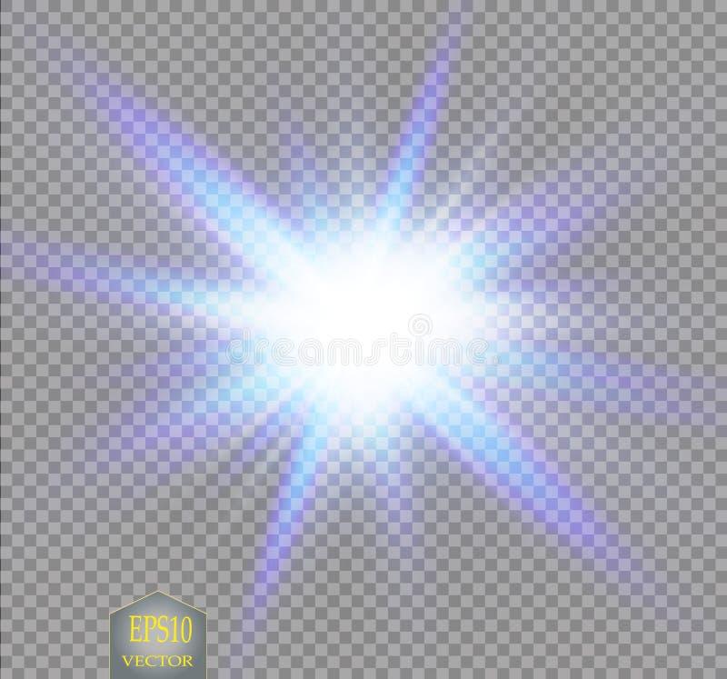 O grupo criativo do vetor do conceito de estrelas do efeito da luz do fulgor estoura com os sparkles isolados ilustração stock