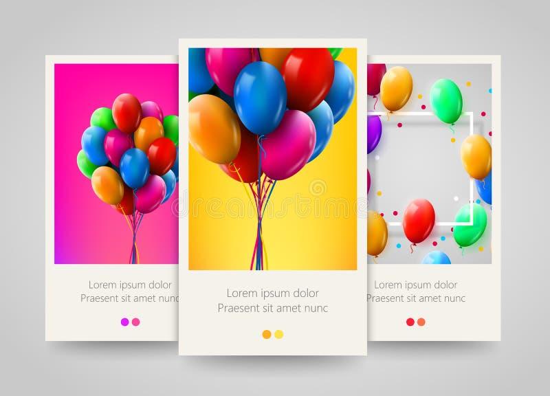 o grupo 3d colorido realístico do aniversário Balloons o voo para o partido e as celebrações Projeto do cartaz, do inseto ou do b ilustração royalty free