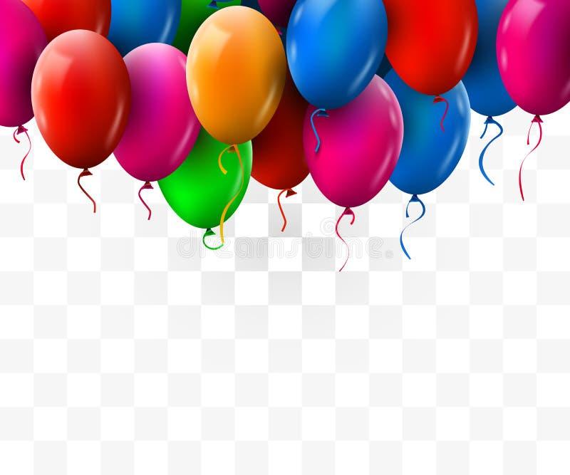 o grupo 3d colorido real?stico do anivers?rio Balloons o voo para o partido e as celebra??es Fundo transparente ilustração do vetor