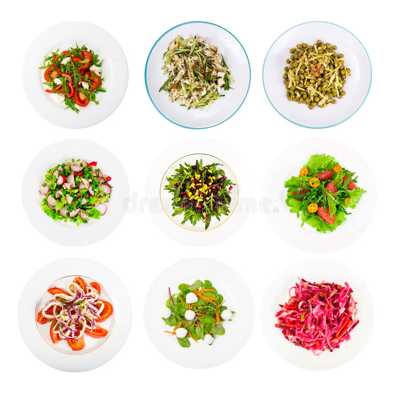 O grupo da aptidão de salada dietética para um estilo de vida saudável isolou o foto de stock royalty free