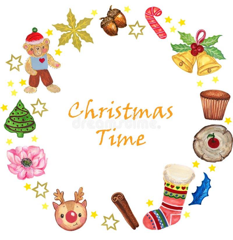 O grupo da aquarela de cookies do gengibre do queque do bastão da caixa de Toy Gift da garatuja do projeto do Natal e de doces da ilustração stock
