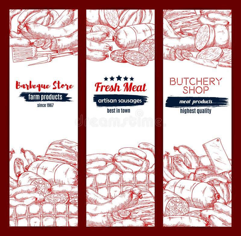 O grupo da bandeira do esboço da carne e da salsicha para o alimento projeta ilustração do vetor