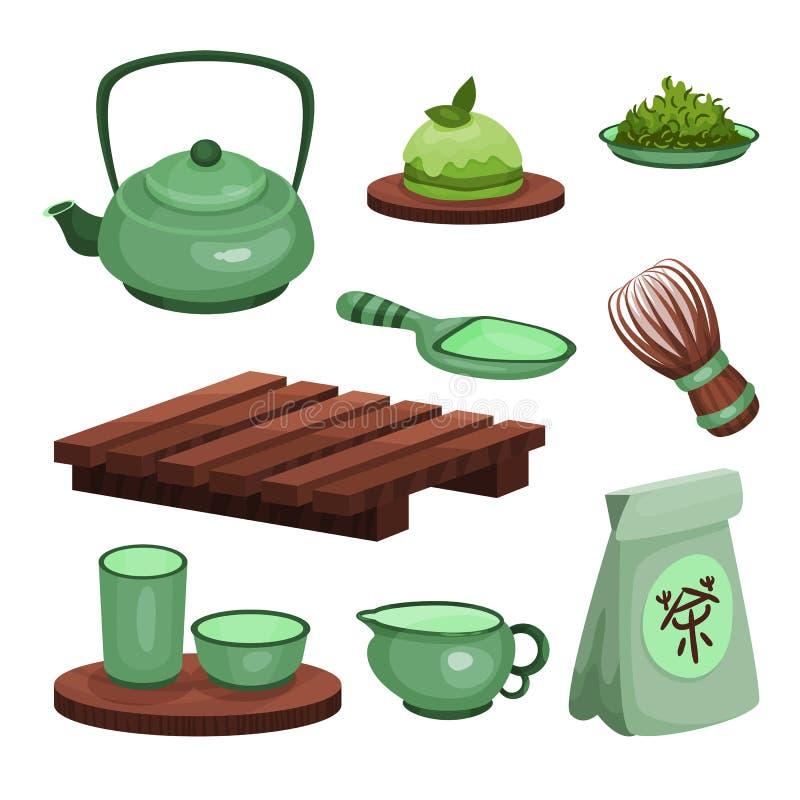 O grupo da cerimônia de chá, os símbolos do tempo do chá e os desenhos animados dos acessórios vector ilustrações ilustração royalty free