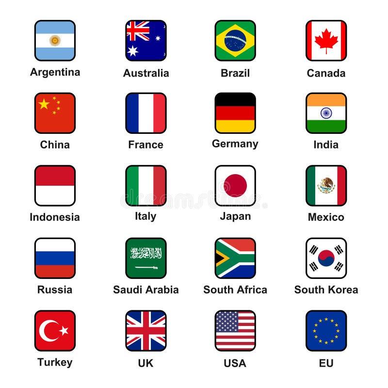 O grupo da coleção do vetor de G20 indica bandeiras oficiais das economias principais no formato esquadrado ilustração royalty free