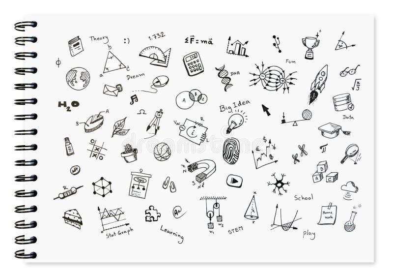 O grupo da garatuja de escola relacionou artigos, equipamento de escola e ferramentas da aprendizagem no caderno branco fotografia de stock royalty free