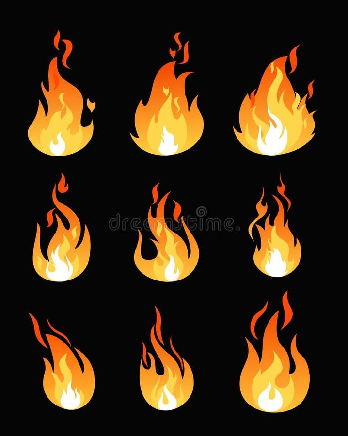 O grupo da ilustração do vetor de fogo arde formas diferentes Coleção flamejante dos símbolos Conceito quente da energia em desen ilustração royalty free