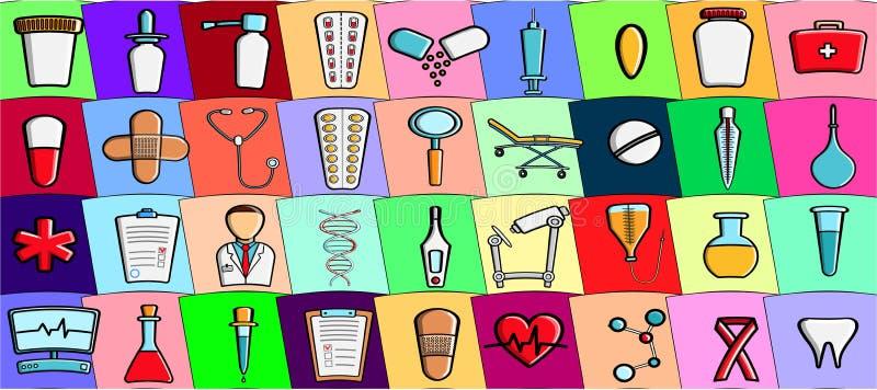 O grupo da ilustração do vetor de microscópios médicos dos estetoscópios das garrafas das medicamentações das drogas dos ícones d ilustração stock
