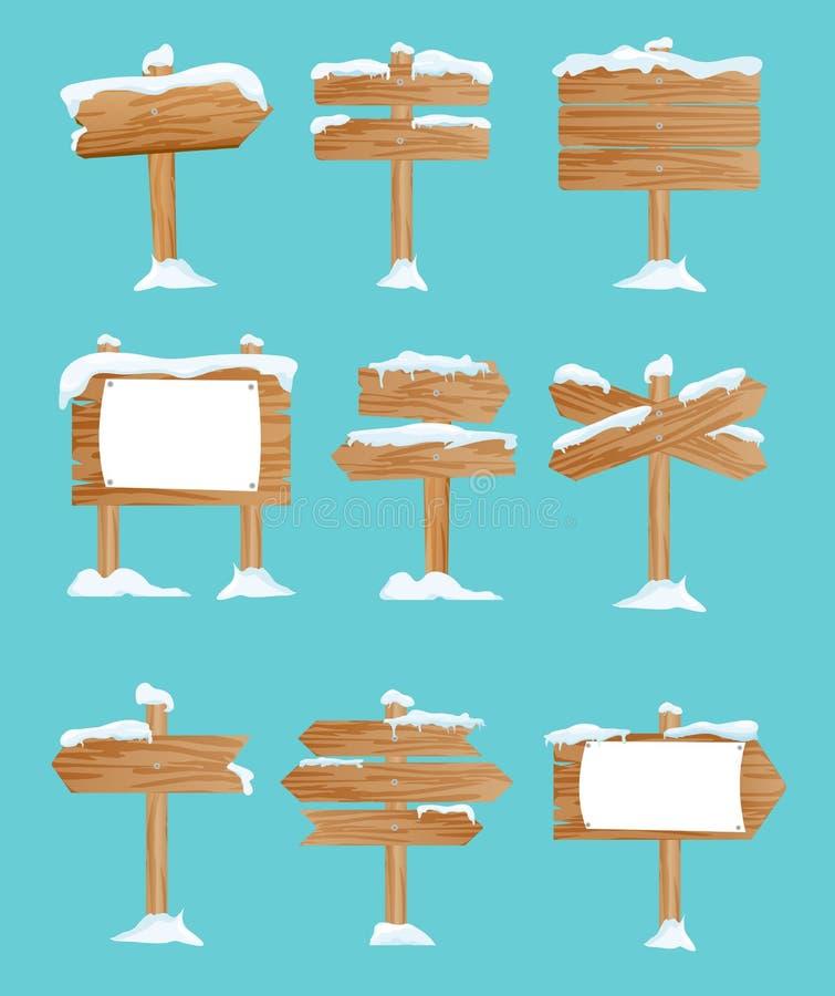O grupo da ilustração do vetor de rua de madeira assina dentro a neve, ponteiros coleção, inverno, neve no estilo liso ilustração royalty free