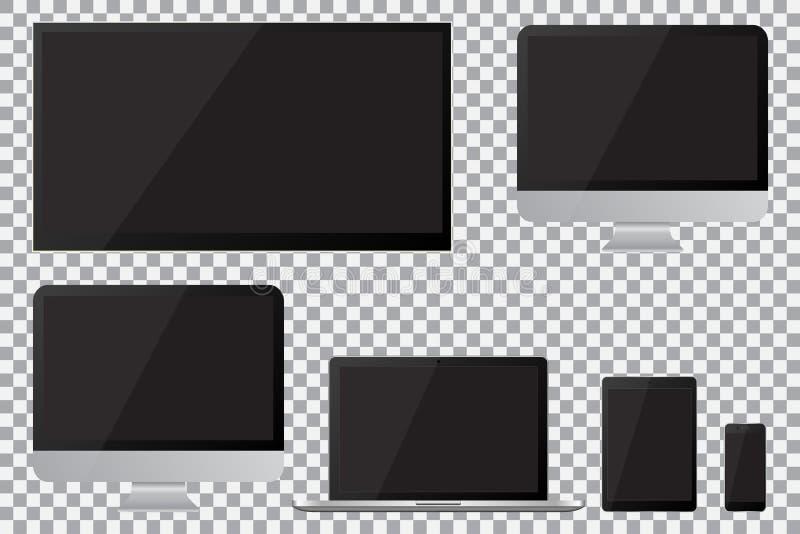 O grupo da tevê realística, lcd, conduziu, monitor do computador, portátil, tabuleta e telefone celular com a tela preta vazia ilustração stock