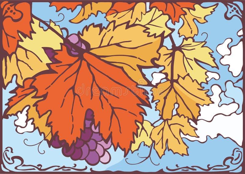 O grupo da uva do outono sae e uvas, dia ensolarado agradável, ilustração stock