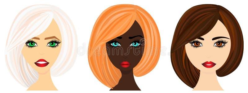 O grupo da Web A de mulheres enfrenta da vária afiliação étnica Ilustração do vetor a usar-se na forma ilustração royalty free