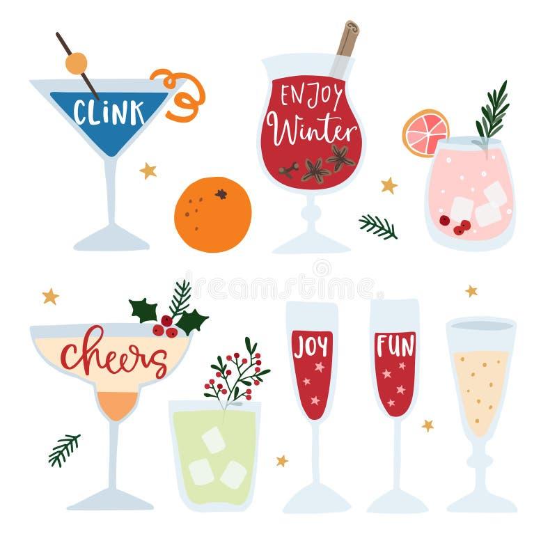 O grupo das bebidas alcoólicas tiradas mão, cocktail com rotulação cita Conceito da celebração do ano novo feliz Vetor isolado ilustração royalty free