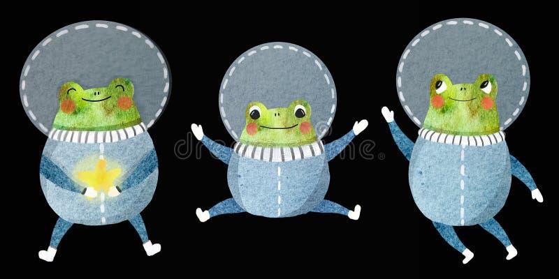 O grupo das crian?as de um astronauta alegre ilustração do vetor