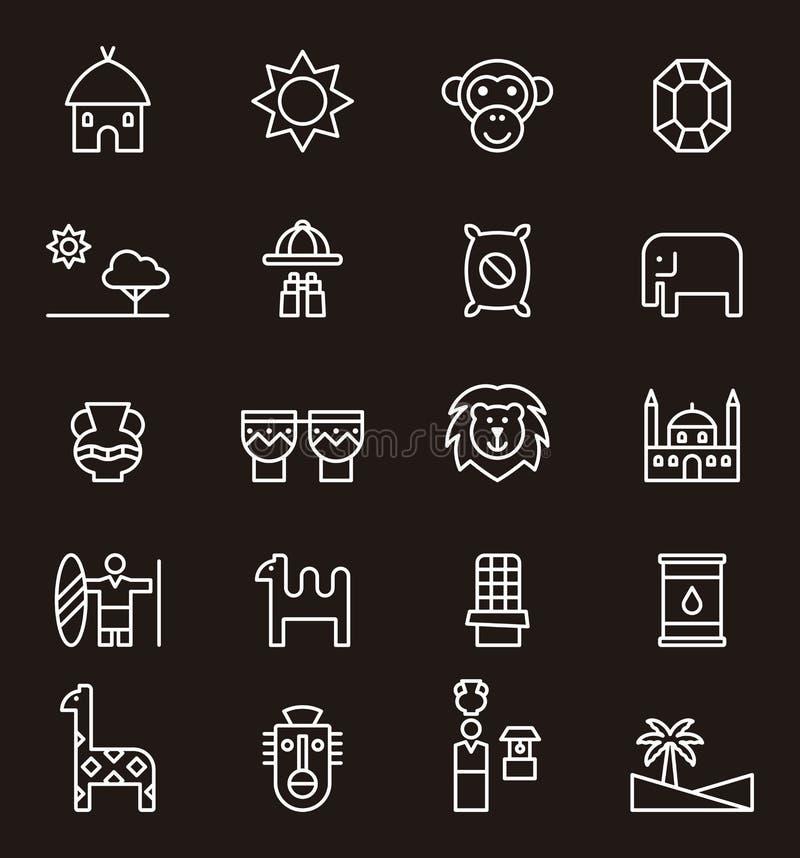 O grupo de África relacionou ícones ilustração royalty free