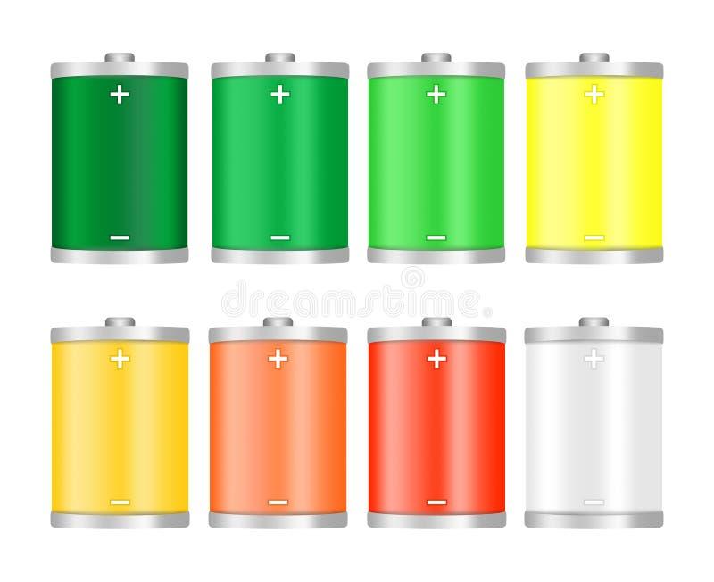 O grupo de ícones coloridos diferentes do nível da carga da bateria carregou inteiramente após a descarga completa, verde, amarel ilustração do vetor