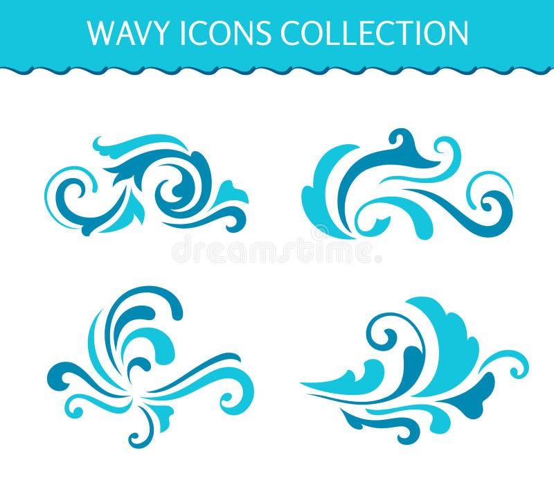 O grupo de ícones da onda, água encaracolado espirra ilustração do vetor