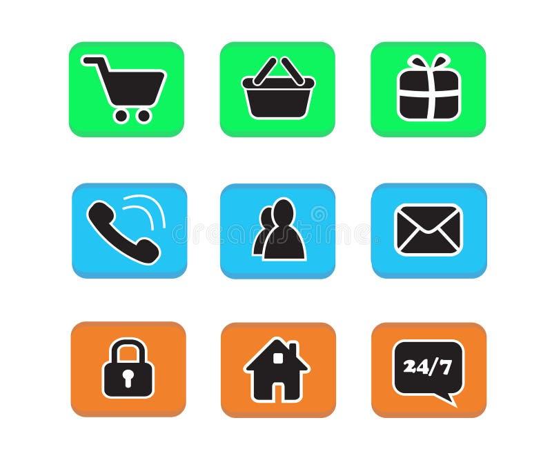 O grupo de ícones do botão da Web do ícone do comércio eletrônico contacta o collectio do símbolo ilustração stock