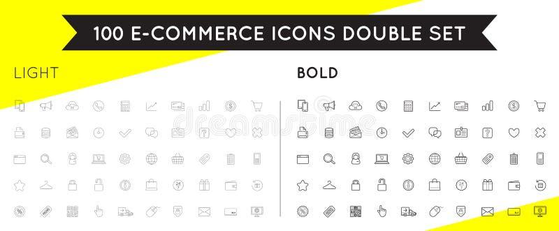 O grupo de ícones do comércio eletrônico do vetor que compram e em linha pode ser a usado ilustração stock
