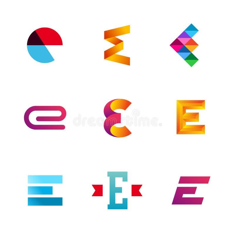 O grupo de ícones do logotipo da letra E projeta elementos do molde ilustração stock