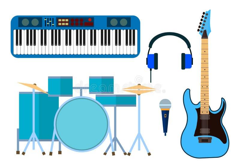 O grupo de ícones dos instrumentos musicais do projeto liso moderno e das ferramentas da música vector a ilustração ilustração stock
