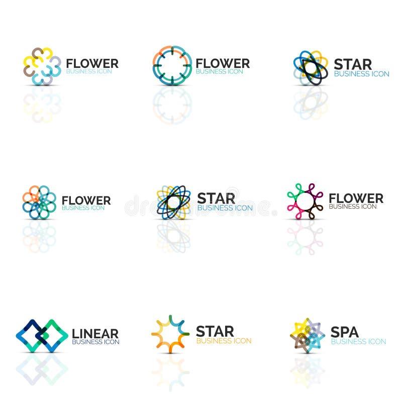 O grupo de ícones lineares minimalistic abstratos da flor ou da estrela, a linha fina símbolos lisos geométricos para o ícone do  ilustração do vetor