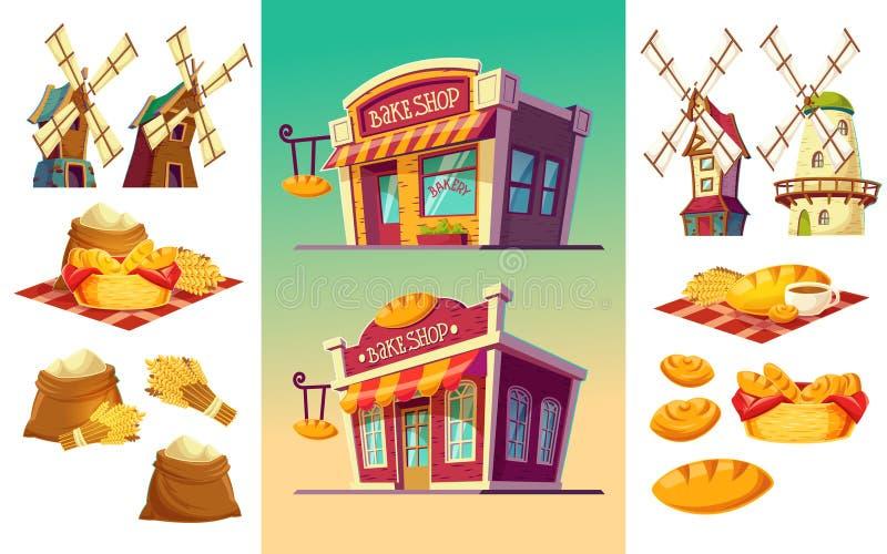 O grupo de ícones para uma padaria dois coze a loja, pão recentemente cozido, orelhas do trigo, sacos da farinha, moinhos de vent ilustração do vetor