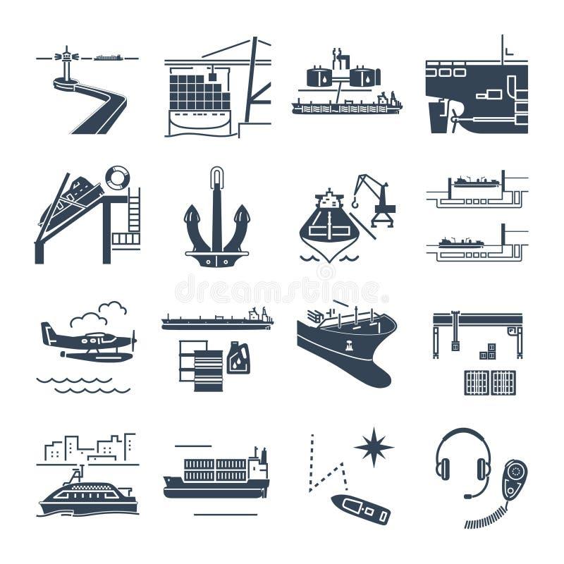 O grupo de ícones pretos molha o transporte e o porto marítimo, navio mercante ilustração royalty free