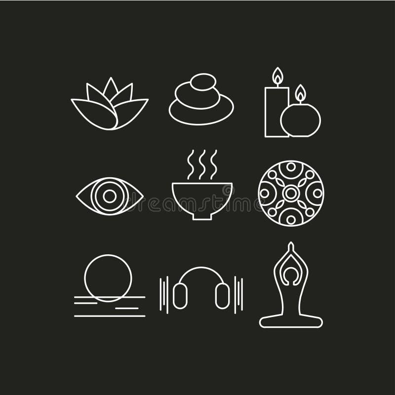 O grupo de ícones relaxa ilustração royalty free