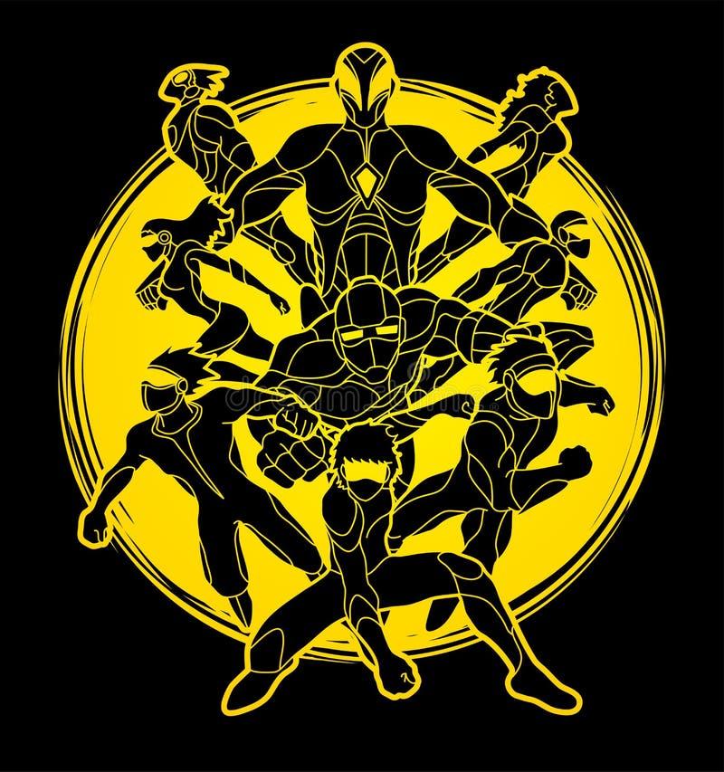 O grupo de ação dos super-herói, unidade team junto o vetor do gráfico do trabalho ilustração stock