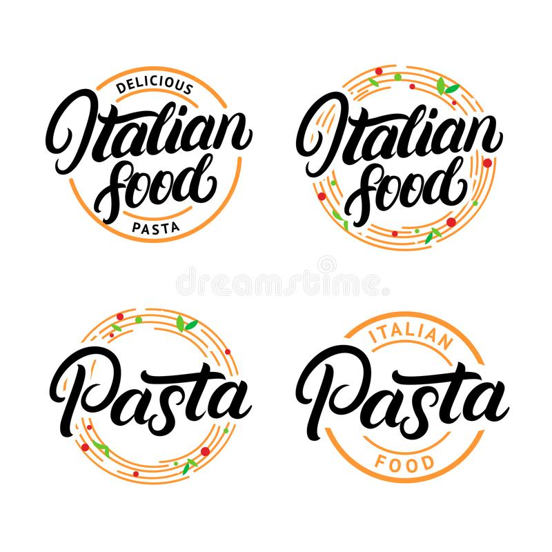 O grupo de alimento italiano e a massa entregam escrito a rotulação do logotipo, etiqueta, crachá, emblema ilustração do vetor
