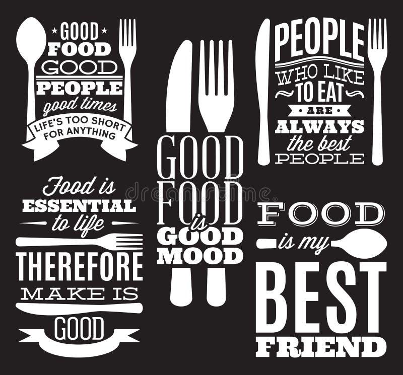 O grupo de alimento tipográfico do vintage cita para o menu ou o t-deslocamento com faca, colher, forquilha ilustração royalty free