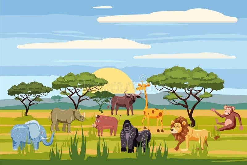 O grupo de animais africanos dos desenhos animados, fundo ajardina o savana Animais do safari, hipopótamo, rinoceronte, elefante ilustração do vetor